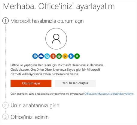 Ürün anahtarınızı kullandığınız setup.office.com sayfasını gösterir