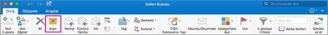 Outlook şeridinde Arşiv düğmesi vurgulanıyor