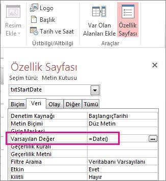 Date() olarak ayarlanmış Varsayılan Değer özelliğini gösteren Özellik Sayfası.