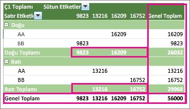 Alt toplamların ve genel toplamların gösterildiği PivotTable örneği