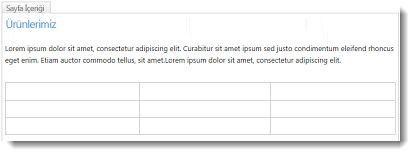 SharePoint Online Web Sitesinde tablo