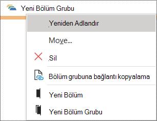 Windows için OneNote'ta bölüm grubunu yeniden adlandırma iletişim kutusu