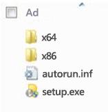 Office 2010 64 bit yüklemesi için platform seçicinin klasör yapısı.