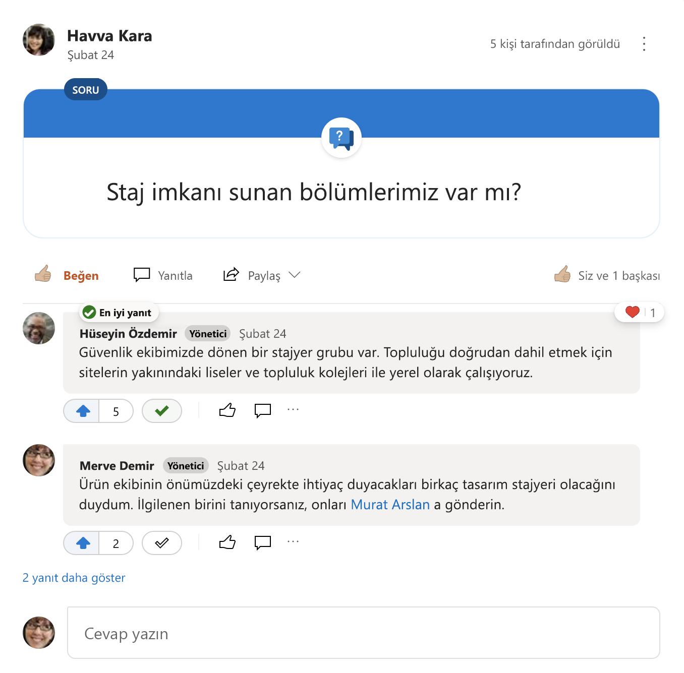 Yammer sorusunun en iyi yanıtı