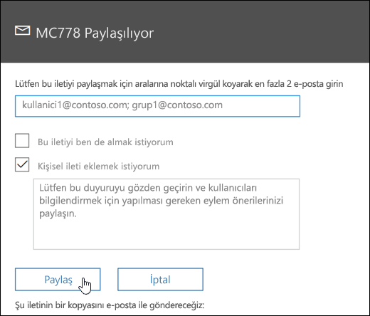 Ekran paylaşımı iletisinin ekran görüntüsü