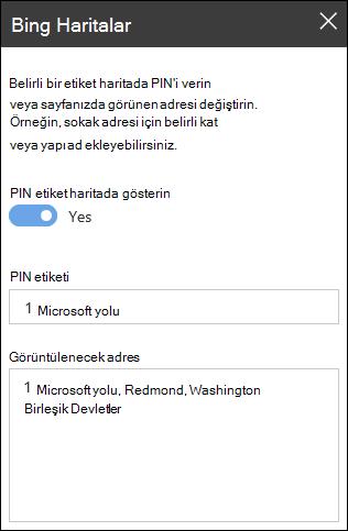 Bing Haritalar Web bölümü araç kutusu