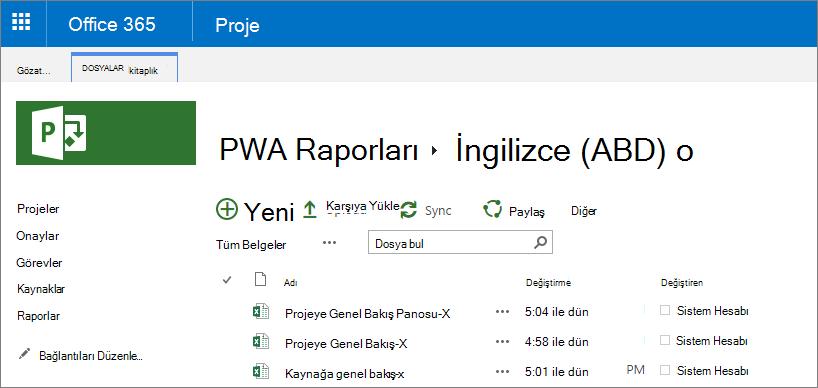 PWA raporları sayfasında dilinizi seçin.