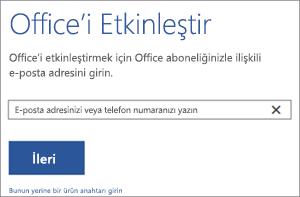 Office'i etkinleştirmek için kullanabileceğiniz Etkinleştir iletişim kutusunu gösterir