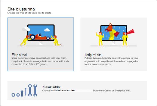 Yönetim merkezinden bir iletişimi site, ekip sitesi veya Klasik site oluşturma