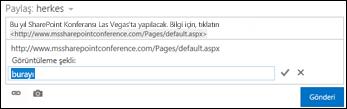 Görüntülenen metinle biçimlendirilmiş web sayfası bağlantısı