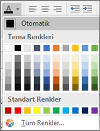 Windows için Excel Masaüstü'nde Yazı tipi rengi menüsü.