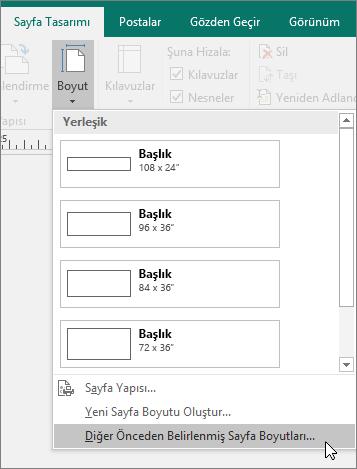 Publisher'da Sayfa Tasarımı sekmesindeki Diğer Önceden Belirlenmiş Sayfa Boyutları seçeneğinin ekran görüntüsü.