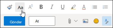 Biçimlendirme araç çubuğu üzerindeki Yazı Tipi boyutu seçeneğinin ekran görüntüsü.