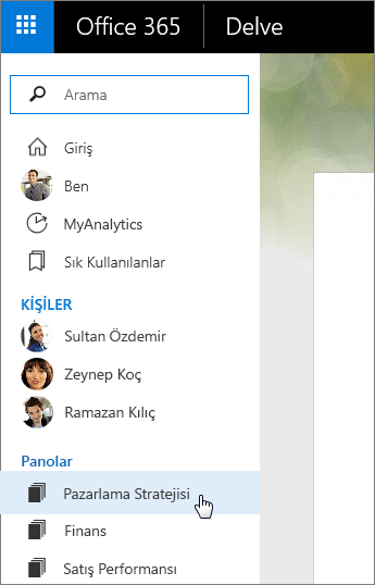 Delve'in sol bölmesindeki Panolar listesinin ekran görüntüsü