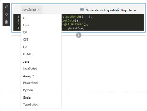 Düzenleme modunda kod parçacığı Web Bölümü