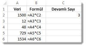 Veriler A sütununda, formüller B sütununda ve 3 sayısı C2 hücresinde