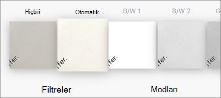 iOS için OneDrive'da görüntü taramaları için filtre seçenekleri