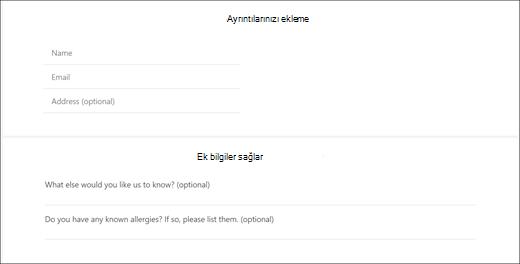 Ekran yakalama: özel soruları müşteri için nasıl göründüğünü gösteren.