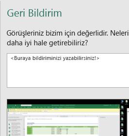 Excel iletişim kutusunda Geri Bildirim
