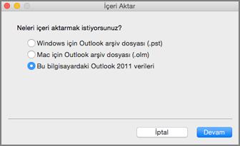 Bu bilgisayardaki Outlook 2011 verileri seçili halde içeri aktarma ekranı