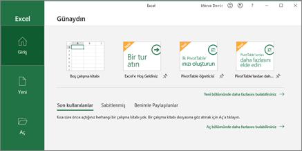 Excel çalışma kitabı oluşturma