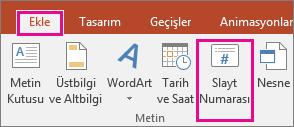 PowerPoint'teki şeritte yer alan slayt numarası düğmesini gösterir