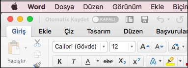 Klasik Temada Mac için Word 'de şerit
