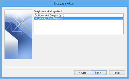 Outlook Dışarı Aktarma Sihirbazı - CSV dosyasını seçin