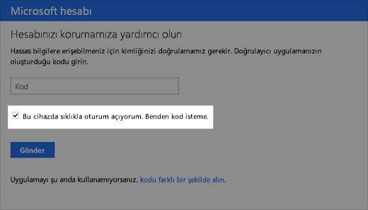 Güvenilir aygıt iletişim kutusunun ekran görüntüsü
