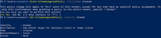 A sor Grant CsTeamsUpgradePolicy çalışırken ve onaylamak için Y girin