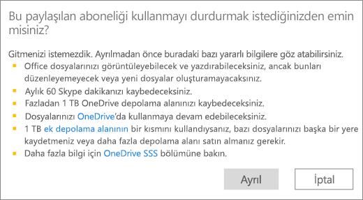 Birinin sizinle paylaştığı Office 365 Ev aboneliğini kullanmayı sonlandırdığınızda görüntülenen onay iletişim kutusunun ekran görüntüsü.