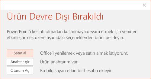 Office yüklemesinin devre dışı bırakıldığını belirten bir ileti gösterir.