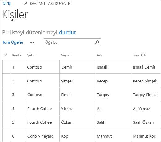 Altı kişi kaydının görüntülendiği SharePoint listesi