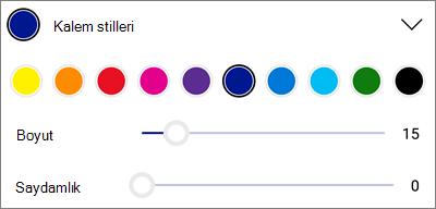 Android için OneDrive PDF Işaretleme kalemi stilleri