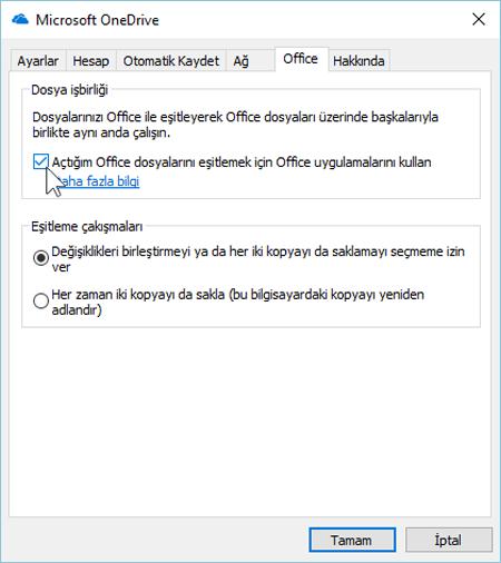 OneDrive eşitleme istemcisi ayarlarında Office sekmesinin ekran görüntüsü