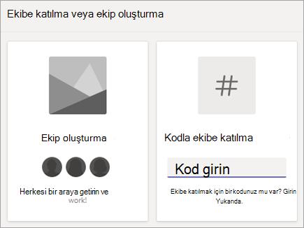 Kod kutucuğu ile ekibe katılma ekip kodu girme