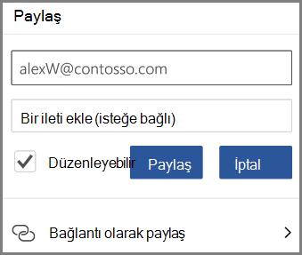 E-posta yoluyla paylaşma gösteren, e-posta girin ve onay düzenleyebilirsiniz