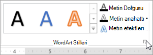 WordArt Stilleri iletişim kutusu Başlatıcısı'nı seçme