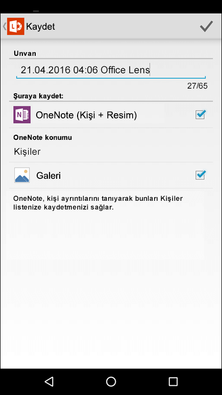 Android için Office Lens'teki kişilere aktar seçeneğinin ekran görüntüsü.