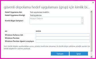 """""""Güvenli Depolama Hedef Uygulaması için Kimlik Bilgilerini Ayarla"""" iletişim kutusunun ekran görüntüsü. Bu iletişim kutusunu bir dış veri kaynağı için oturum açma kimlik bilgilerini ayarlamak amacıyla kullanabilirsiniz"""