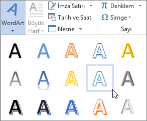WordArt seçeneği belirleme