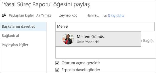 OneDrive İş Kişileri Davet Et sekmesi
