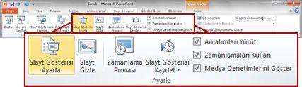 PowerPoint 2010 şeridindeki Slayt Gösterisi sekmesinde bulunan Ayarla grubu