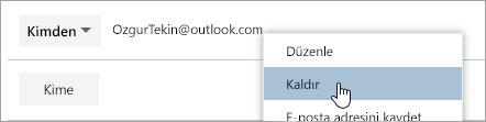 Kaldır seçeneğinin ekran görüntüsü