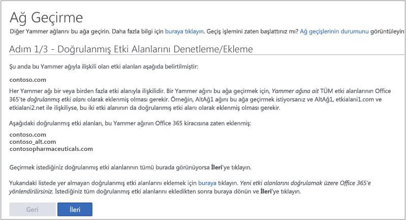 Adım 1/3 - Yammer Ağı'nı taşımadan önce Doğrulanmış Etki Alanlarını Denetleme/Ekleme ekran görüntüsü