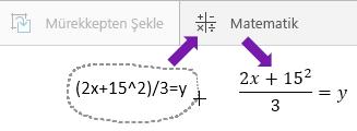 Yazılan denklemi, matematik düğmesini ve dönüştürülen denklemi gösterir