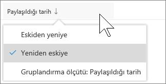 Benimle paylaşılan sütuna göre OneDrive iş görünümünde soring ekran görüntüsü