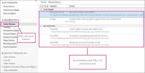 E-postalar, Office 365 posta kutunuza aktarıldıktan sonra iki yerde görünür.