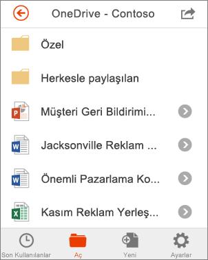 Office Mobile'da OneDrive dosyaları