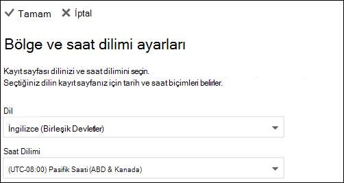 Ekran görüntüsü: dil ve geçerli saat dilimi seçin
